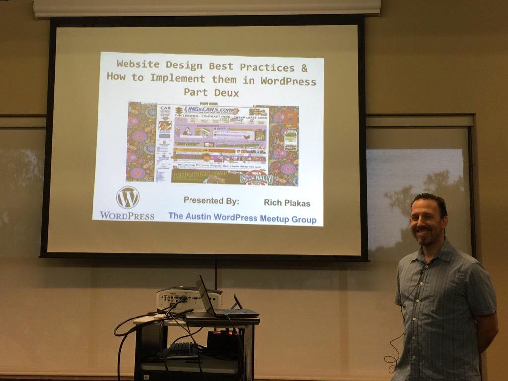 Rich Plakas Presenting at Austin WordPress Beginner Meetup May 18 2015